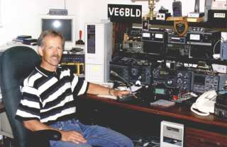 Bob King VE6BLD at his amateur radio station in Lacombe, Alberta