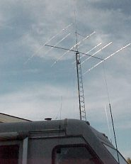 VE6MIM's radio antennas and amateur radio equipped motorhome