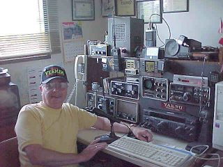 Mike Mailhiot VE6MIM in his radio shack at his Red Deer home.