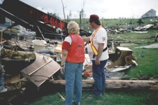 Amateur Radio Operator Sandy Jacobs VE6SND at Red Cross