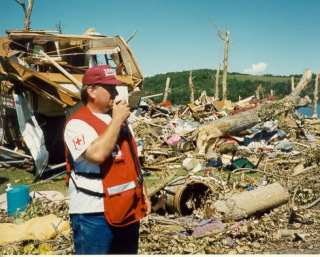 Darren Misik VE6ZZM at the center of the tornado damage